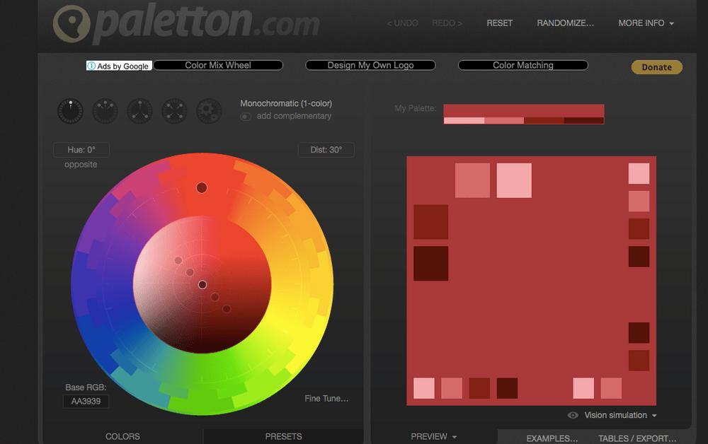網頁配色網站:Paletton